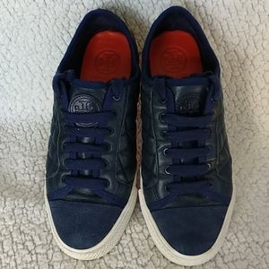 Tory Burch Quilted Leather Sneakers Blue